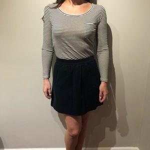 J.Crew -Gray Stripe Top & Navy Corduroy Mini Skirt